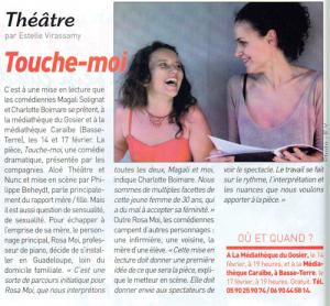 Touche-Moi (monologue à deux voix de Charlotte Boimare et Magali Solignat), Article France-Antilles